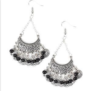 Cute silver dangles with black